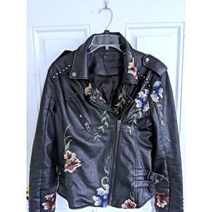 BlankNYC Floral Embroidered Leather Jacket Large